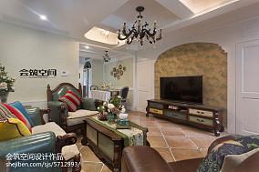 123平米美式复式客厅装修欣赏图片