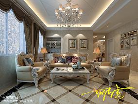 悠雅133平简欧三居客厅装饰图