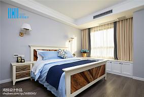 精美面积91平美式三居卧室装修设计效果图片大全三居美式经典家装装修案例效果图