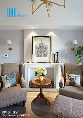温馨103平美式三居客厅效果图片大全三居美式经典家装装修案例效果图