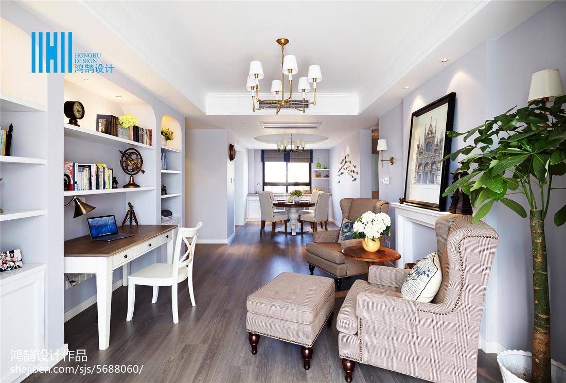 2018精选面积101平美式三居客厅实景图片欣赏三居美式经典家装装修案例效果图
