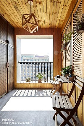 悠雅91平混搭三居阳台设计效果图阳台潮流混搭设计图片赏析