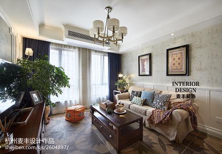简约美式 客厅设计二居美式经典家装装修案例效果图