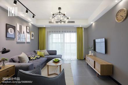热门面积71平北欧二居客厅装修设计效果图片客厅
