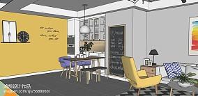 热门72平米二居餐厅北欧效果图片家装装修案例效果图