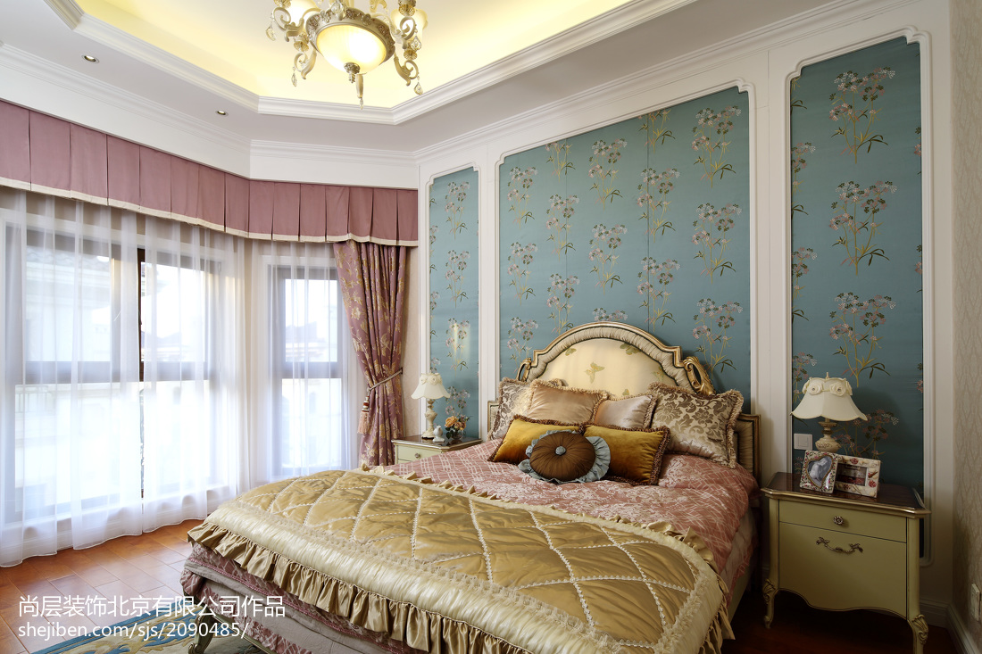 面积140平别墅卧室欧式装修欣赏图片卧室窗帘欧式豪华卧室设计图片赏析