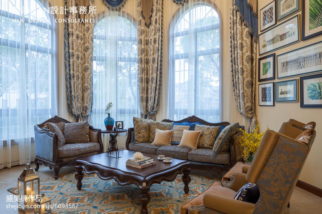 2018精选面积130平别墅客厅美式装修设计效果图片大全客厅窗帘美式经典客厅设计图片赏析