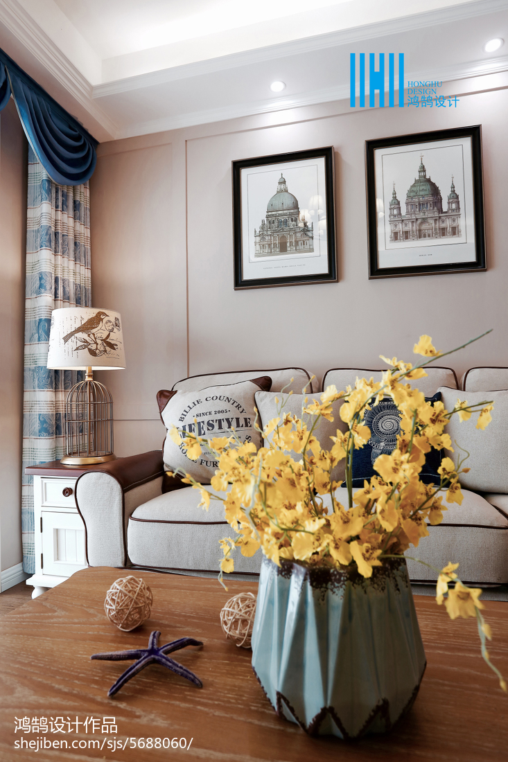 精美74平米二居客厅美式装修实景图片欣赏客厅窗帘美式经典客厅设计图片赏析