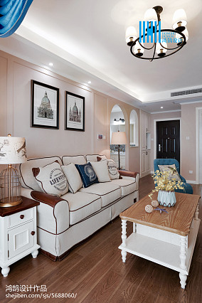 面积75平美式二居客厅装修设计效果图片欣赏