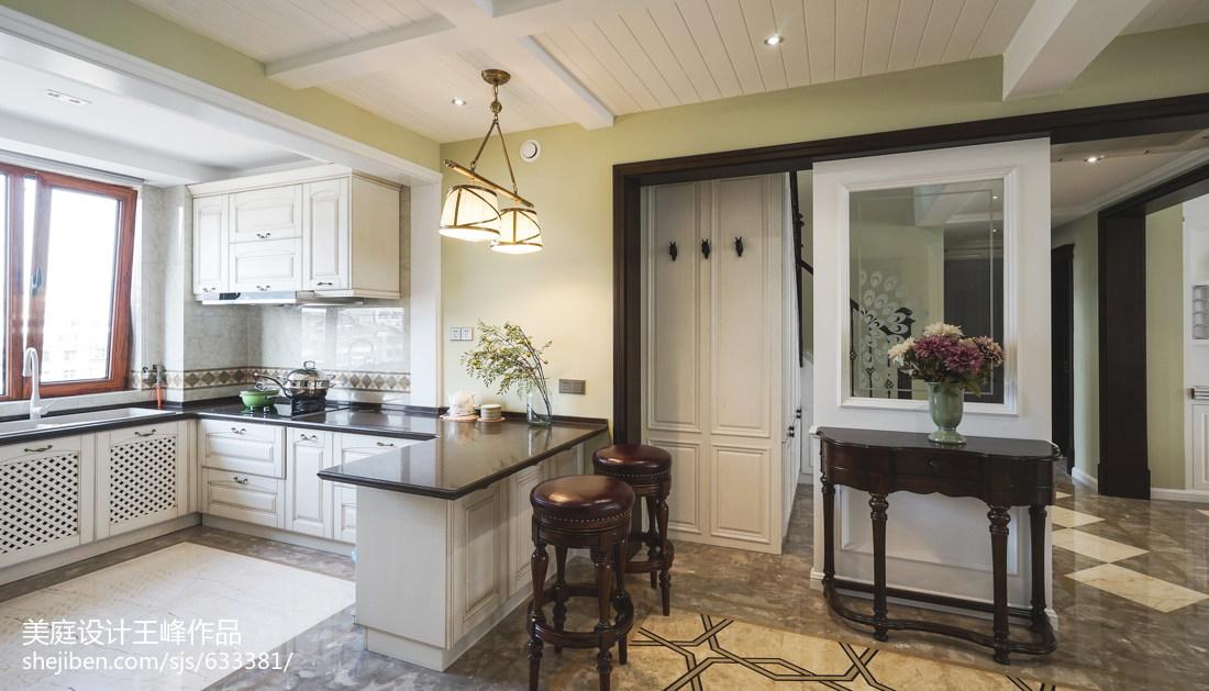 美式田园风格开放式吧台设计客厅美式经典客厅设计图片赏析