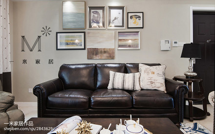 精美面积106平美式三居客厅装饰图