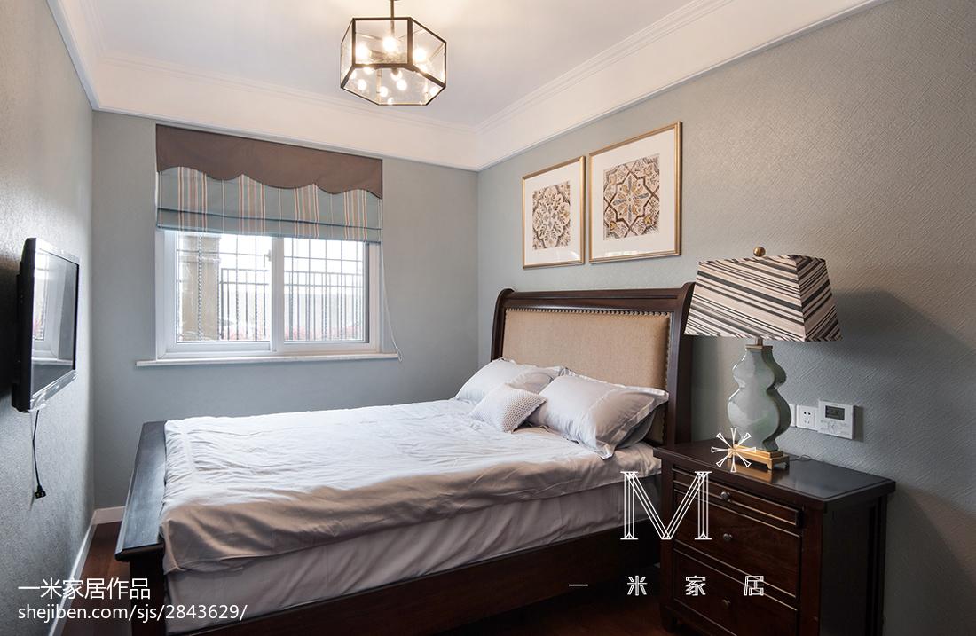 热门103平米三居卧室美式装修实景图片大全卧室床美式经典卧室设计图片赏析