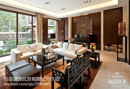 面积119平别墅客厅中式装修实景图片欣赏
