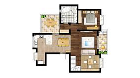 大气65平日式复式设计图复式日式家装装修案例效果图