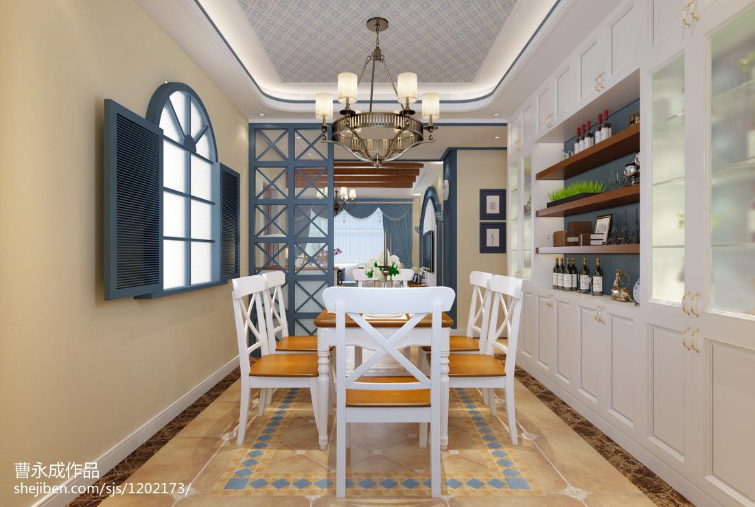 质朴90平地中海三居餐厅布置图功能区其他功能区设计图片赏析
