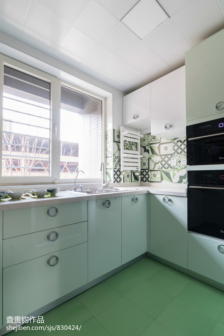 面积75平简约二居厨房效果图片欣赏餐厅1图