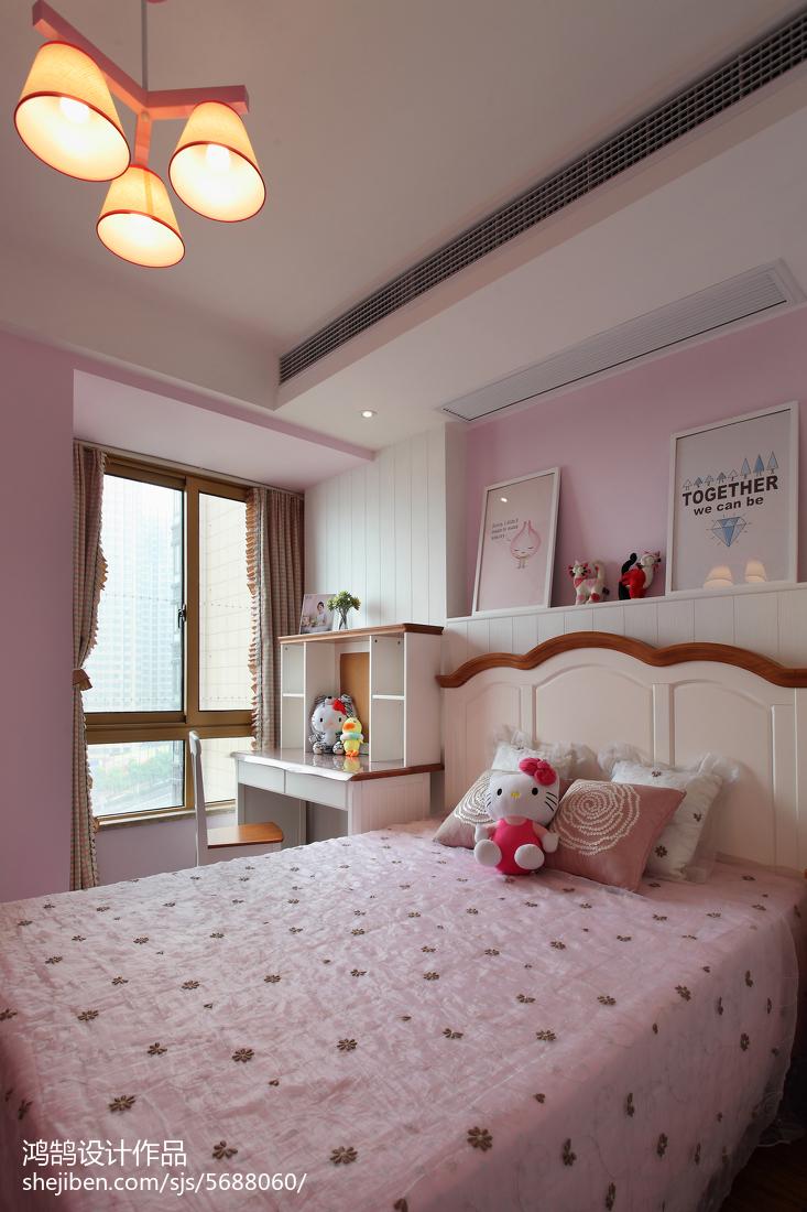 精美面积104平简约三居儿童房实景图片大全卧室现代简约卧室设计图片赏析