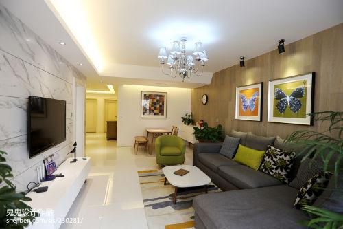 精选大小93平混搭三居客厅设计效果图客厅电视背景墙