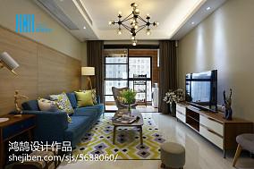 精选91平米三居客厅简约装修实景图81-100m²三居现代简约家装装修案例效果图