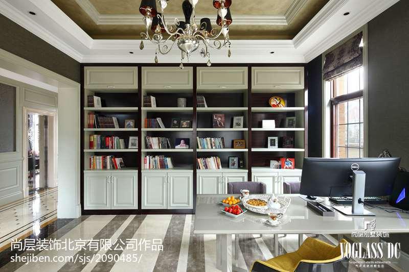 2018面积143平别墅书房新古典装修效果图功能区美式经典功能区设计图片赏析