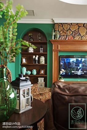 精美134平米美式别墅客厅装修图片欣赏别墅豪宅美式经典家装装修案例效果图