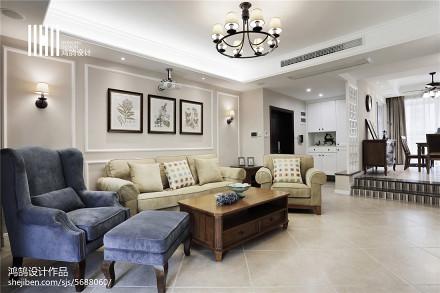 2018面积121平美式四居客厅装修图片大全
