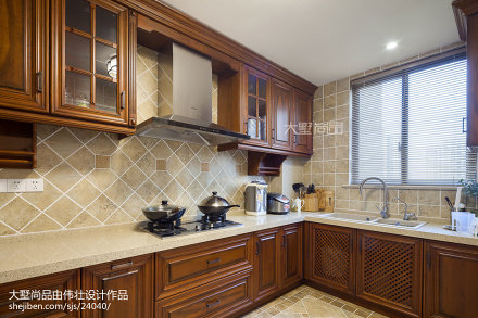 2018精选面积100平美式三居厨房欣赏图片大全餐厅