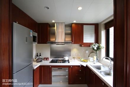 典雅107平欧式四居厨房装修美图餐厅