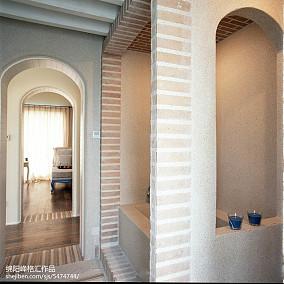 热门面积119平复式过道地中海装修设计效果图复式地中海家装装修案例效果图
