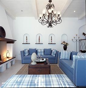 精美地中海复式客厅实景图片欣赏复式地中海家装装修案例效果图