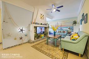 精选面积70平地中海二居客厅效果图二居地中海家装装修案例效果图