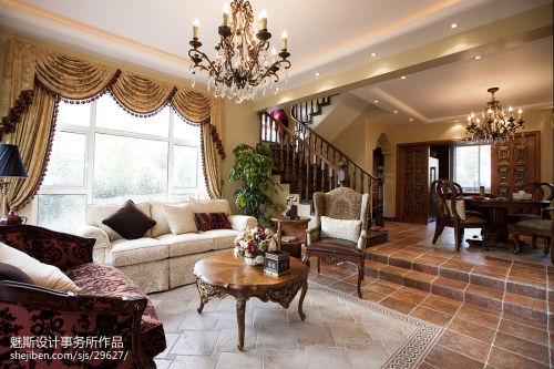 精选别墅客厅东南亚装修欣赏图片客厅窗帘201-500m²潮流混搭家装装修案例效果图