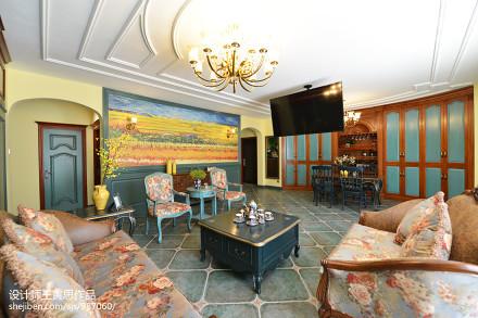 质朴200平美式别墅客厅装修设计图别墅豪宅美式经典家装装修案例效果图
