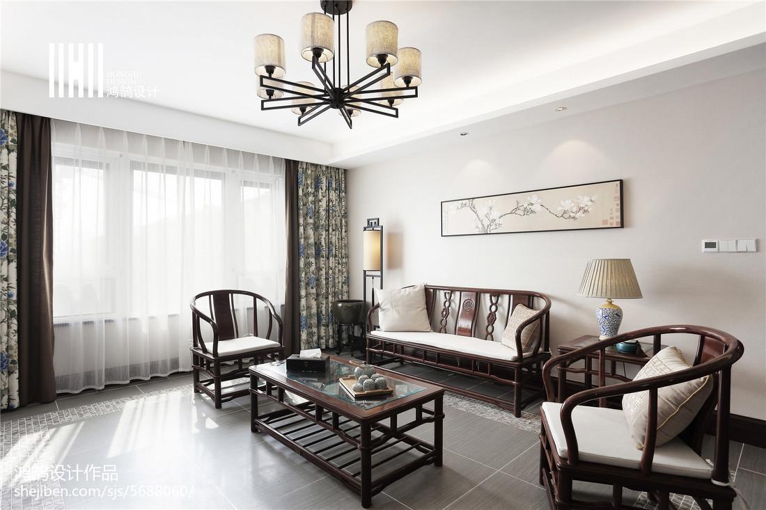 精美面积96平中式三居客厅效果图三居中式现代家装装修案例效果图