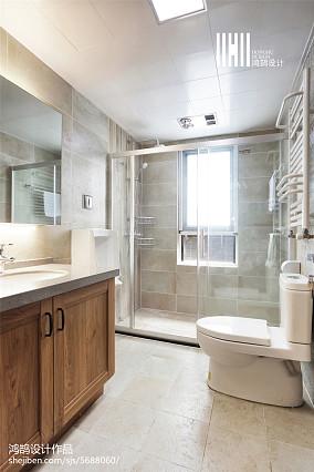 2018精选100平米三居卫生间中式效果图片大全三居中式现代家装装修案例效果图