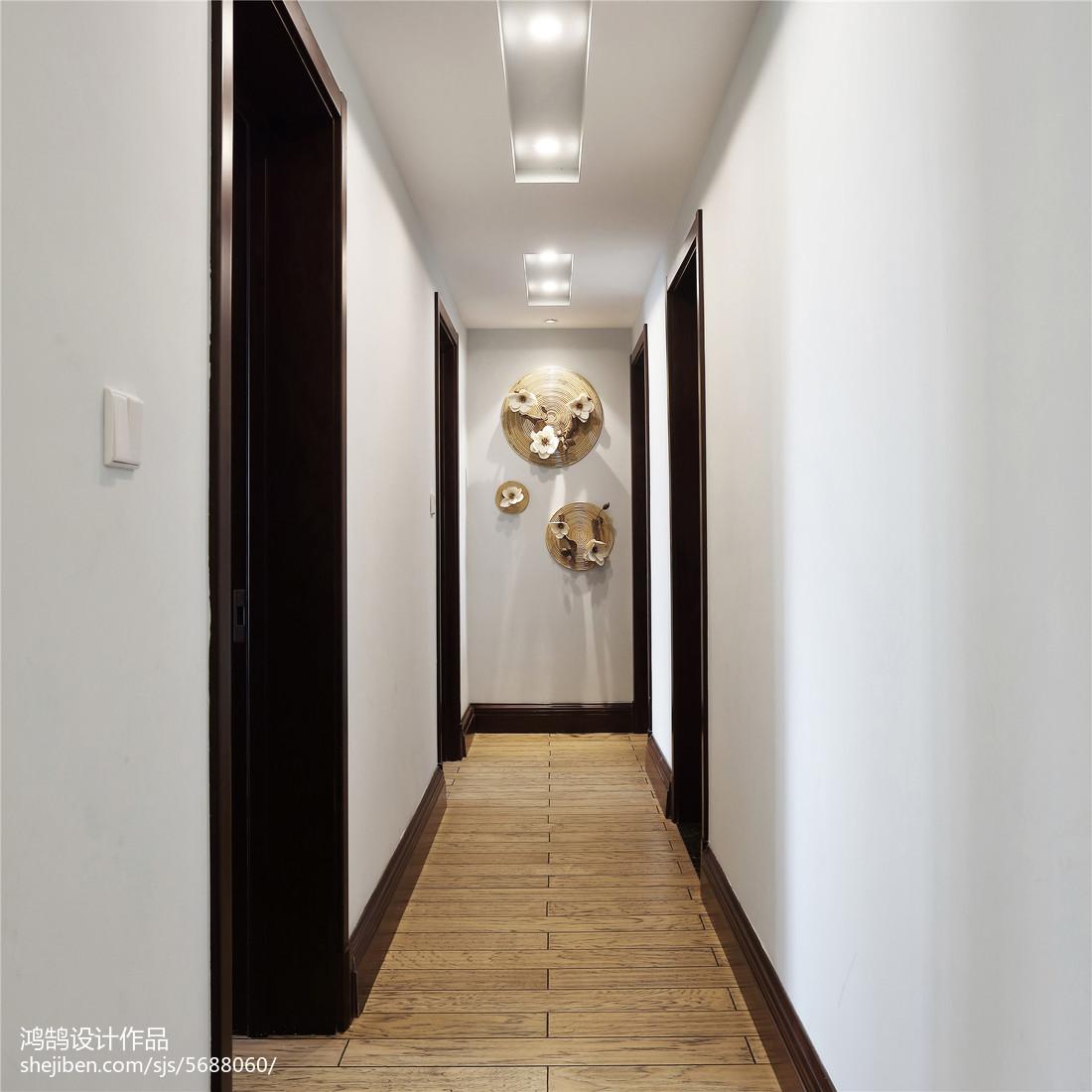 2018精选面积94平中式三居过道装修欣赏图玄关中式现代玄关设计图片赏析