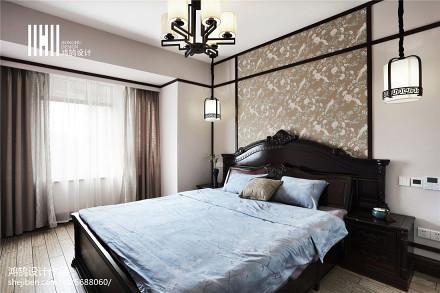 热门105平方三居卧室中式装修图片