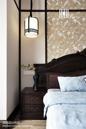 2018面积106平中式三居卧室装饰图片大全三居中式现代家装装修案例效果图