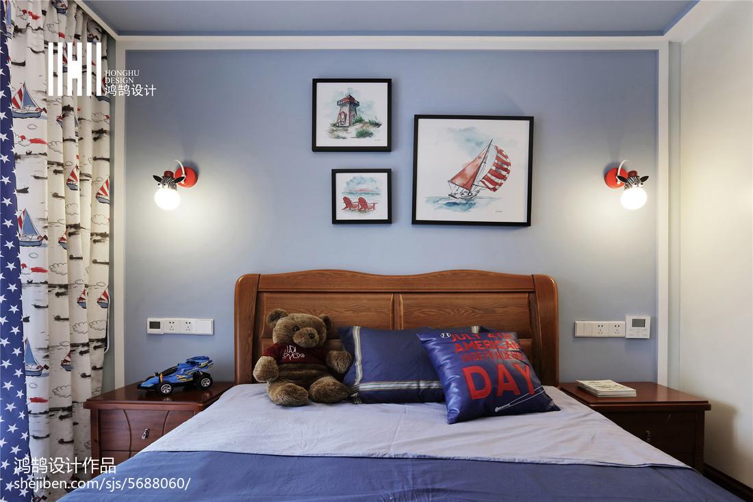 面积108平中式三居儿童房装修图片卧室中式现代卧室设计图片赏析