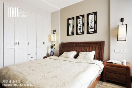 面积97平中式三居卧室装修设计效果图片