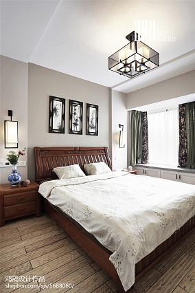 热门94平米三居卧室中式效果图片三居中式现代家装装修案例效果图