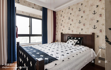 精选面积93平美式三居卧室实景图片欣赏