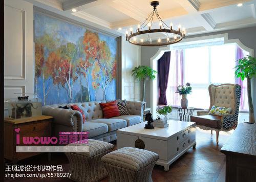 精美面积80平美式二居客厅装修实景图片大全客厅窗帘101-120m²美式经典家装装修案例效果图