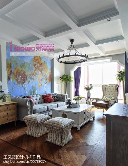热门75平米二居客厅美式装饰图
