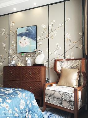 2018精选120平米中式复式卧室装修效果图片复式中式现代家装装修案例效果图