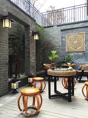 热门125平米中式复式花园装饰图片家装装修案例效果图