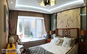 悠雅73平中式复式卧室布置图复式中式现代家装装修案例效果图