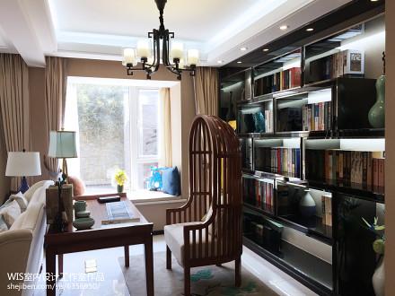 复式古雅中式风书房设计复式中式现代家装装修案例效果图