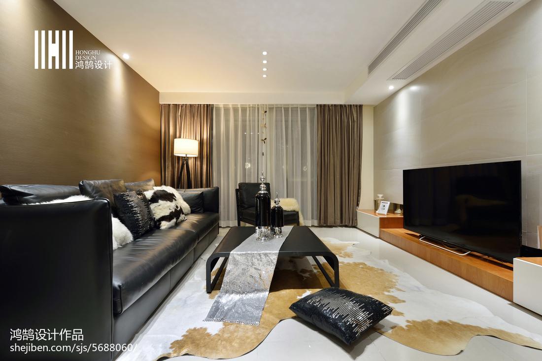 2018精选面积105平现代三居客厅效果图片大全客厅