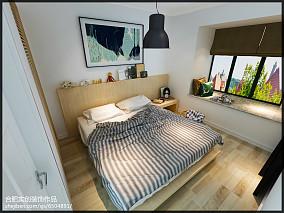 面积95平简约三居卧室装修实景图